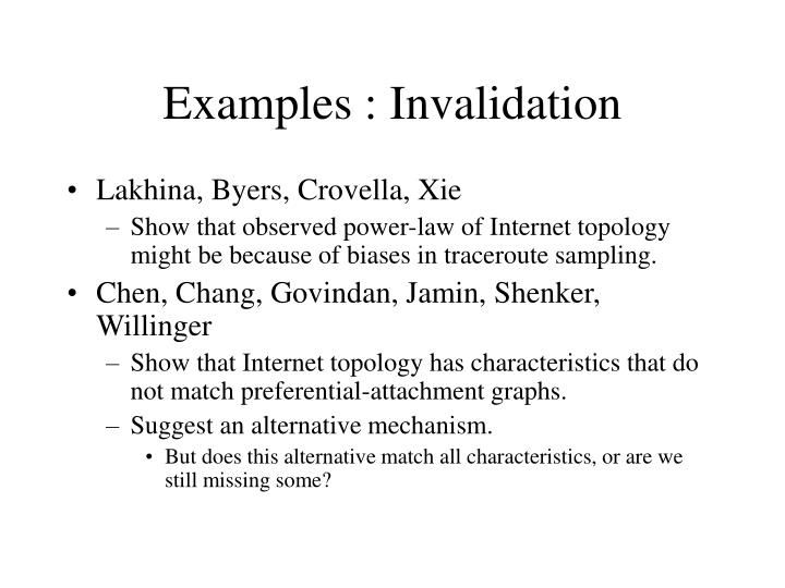 Examples : Invalidation