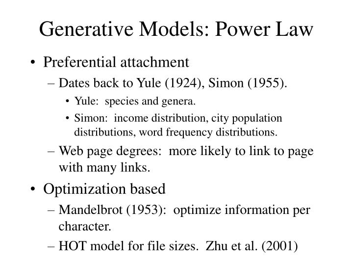 Generative Models: Power Law