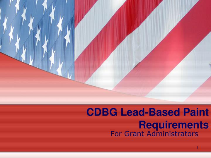 Cdbg lead based paint requirements
