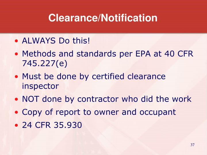 Clearance/Notification