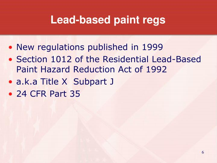 Lead-based paint regs