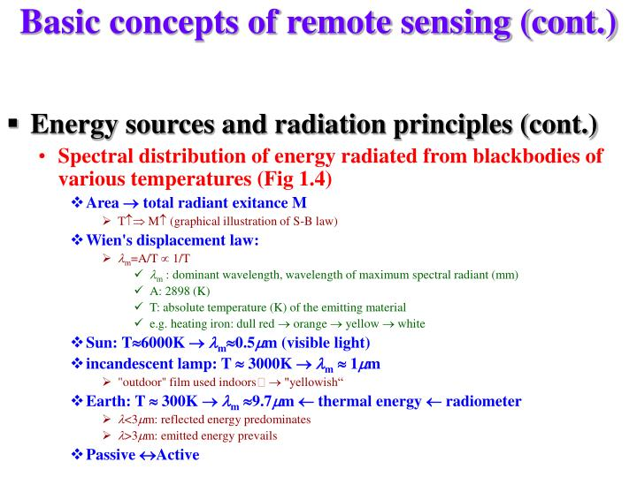 Basic concepts of remote sensing (cont.)