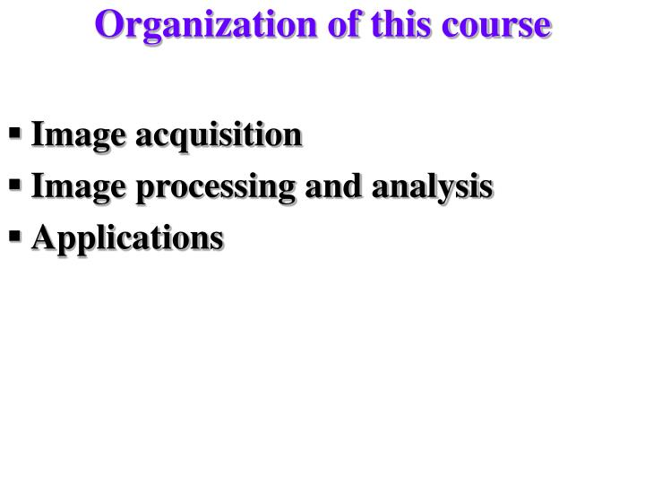 Organization of this course