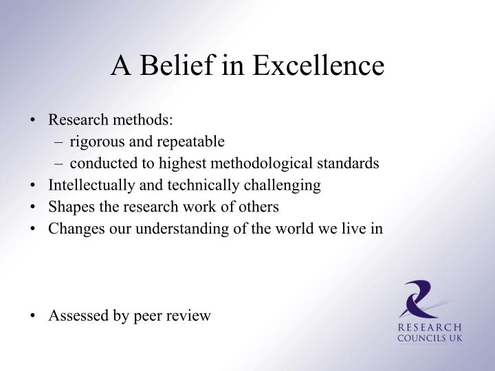 A Belief in Excellence