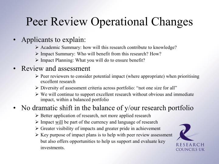 Peer Review Operational Changes