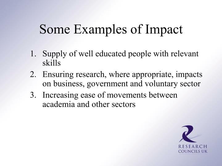 Some Examples of Impact