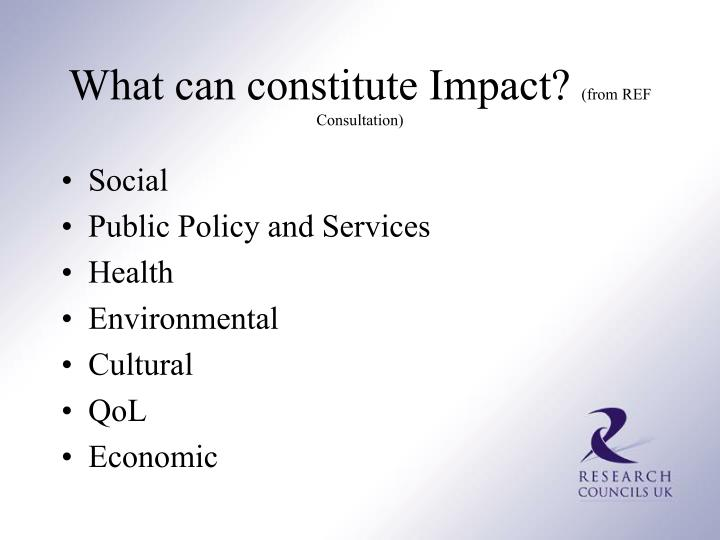 What can constitute Impact?