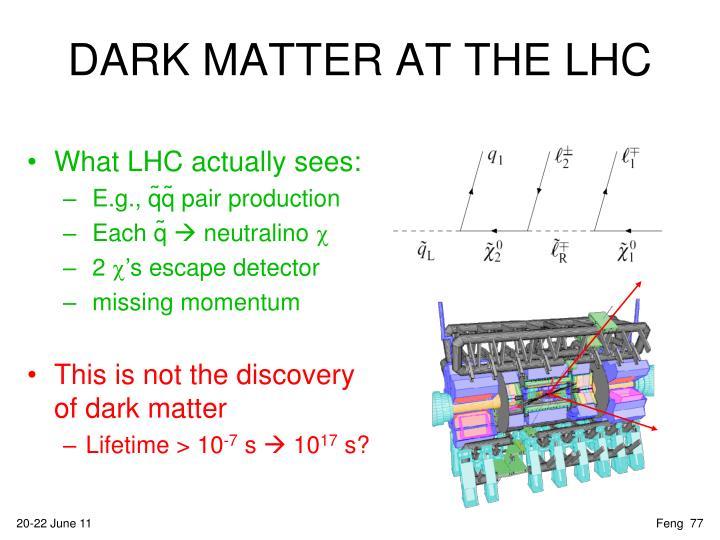 DARK MATTER AT THE LHC