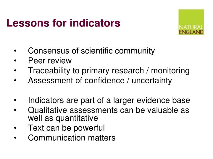 Lessons for indicators