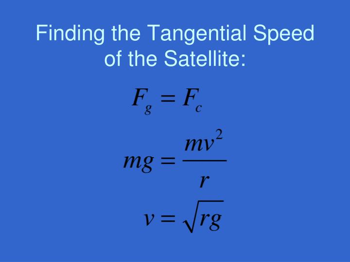 Finding the Tangential Speed of the Satellite: