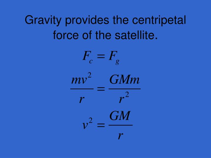 Gravity provides the centripetal force of the satellite