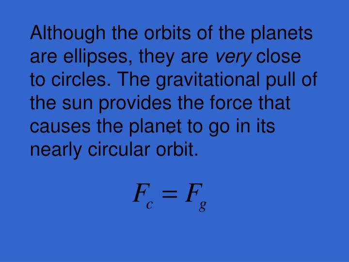 Although the orbits of the planets are ellipses, they are