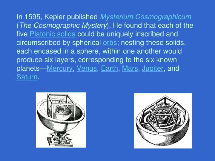 In 1595, Kepler published
