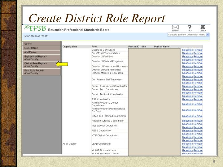 Create District Role Report