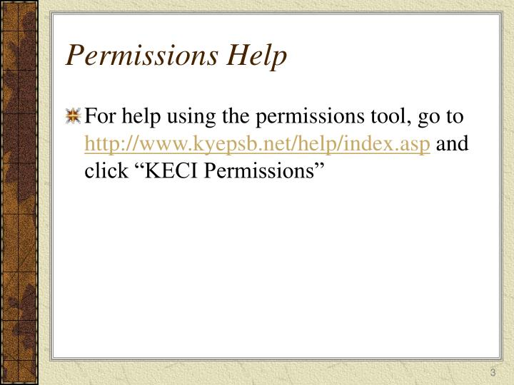 Permissions help
