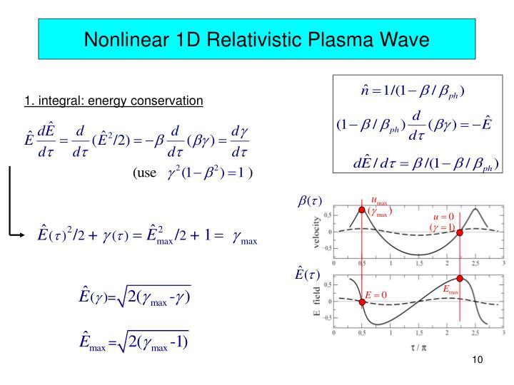 Nonlinear 1D Relativistic Plasma Wave