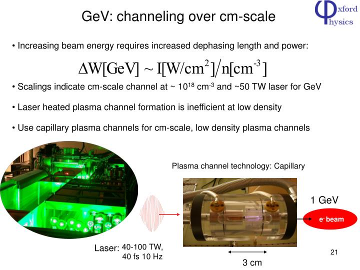 GeV: channeling over cm-scale