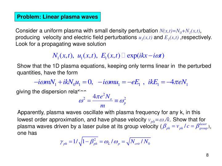 Problem: Linear plasma waves