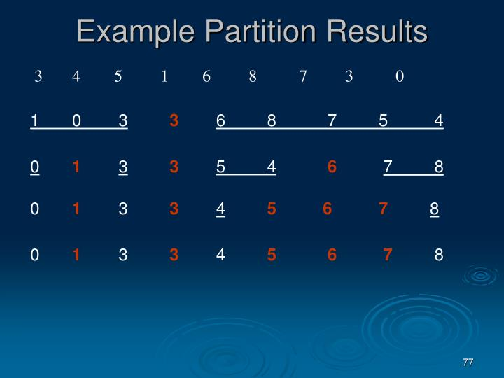 Example Partition Results