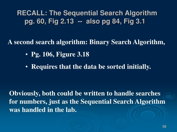 RECALL: The Sequential Search Algorithm