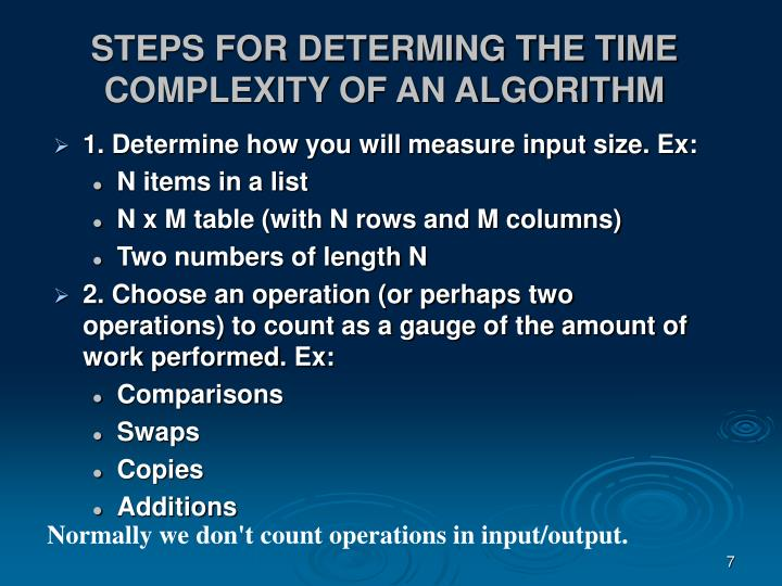 STEPS FOR DETERMING THE TIME COMPLEXITY OF AN ALGORITHM