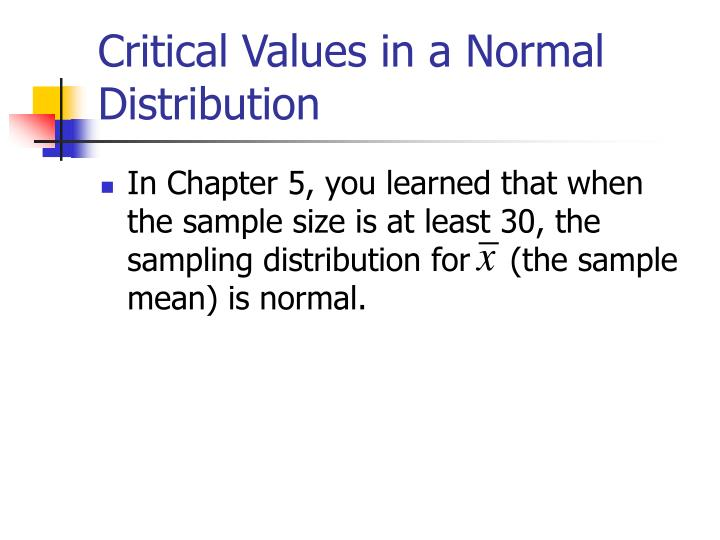 Critical values in a normal distribution