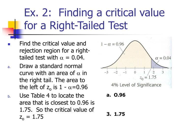 Ex. 2:  Finding a critical value for a Right-Tailed Test