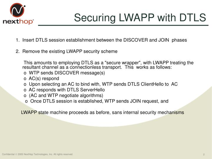 Securing LWAPP with DTLS