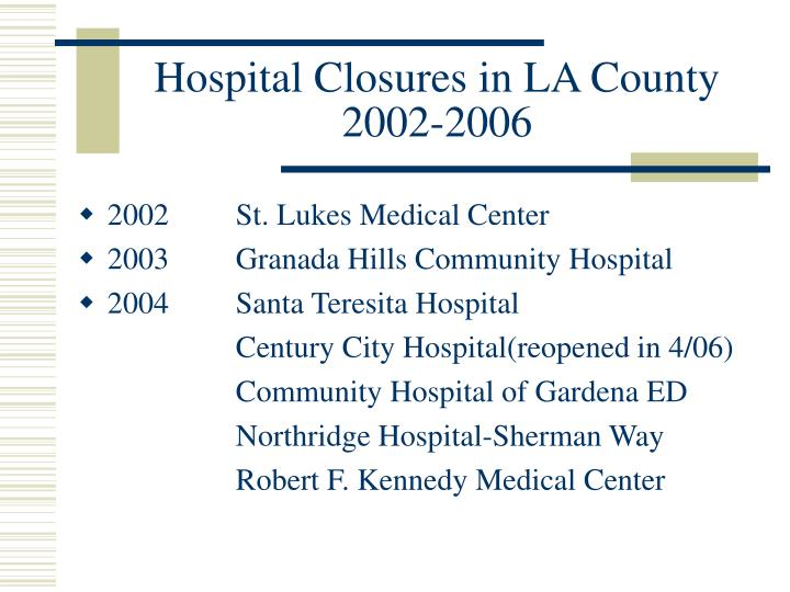 Hospital Closures in LA County