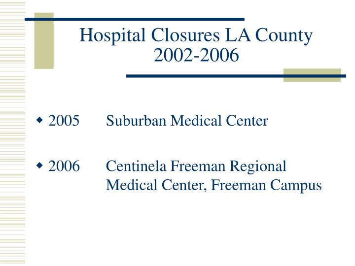 Hospital closures la county 2002 2006