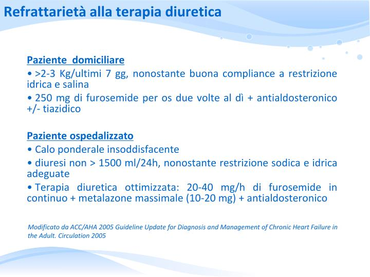 Refrattarietà alla terapia diuretica