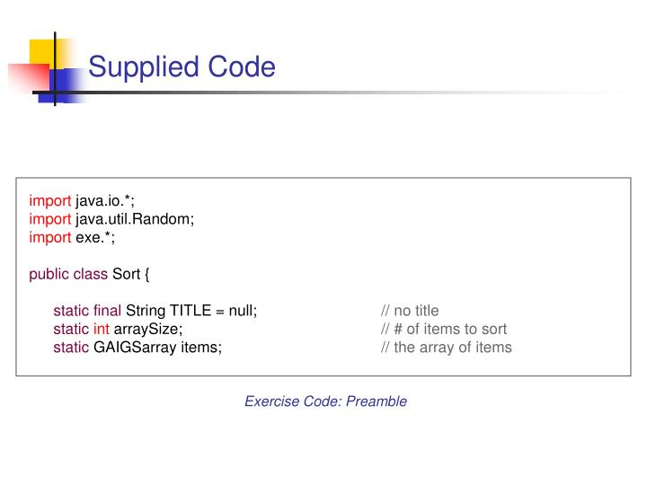 Supplied Code