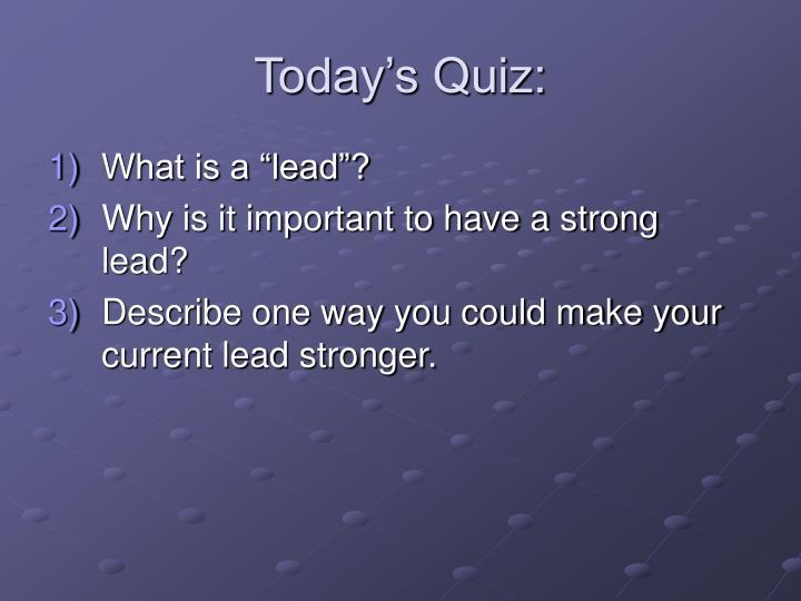 Today's Quiz: