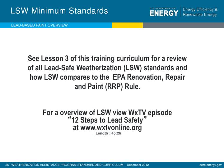 LSW Minimum Standards