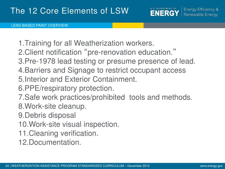The 12 Core Elements of LSW