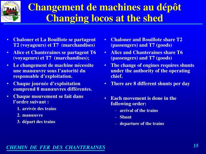 Chaloner et La Bouillote se partagent T2 (voyageurs) et T7  (marchandises)