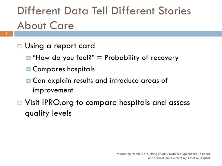 Different Data Tell Different Stories About Care