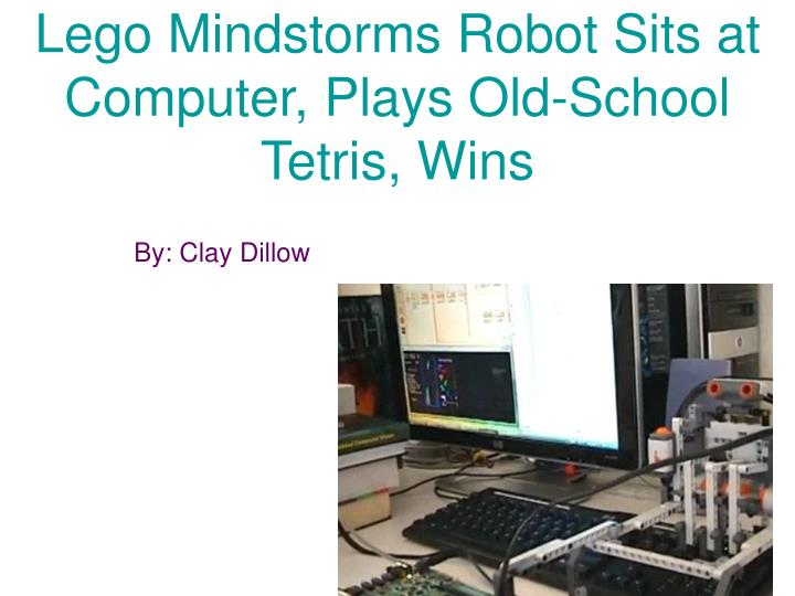 Lego mindstorms robot sits at computer plays old school tetris wins
