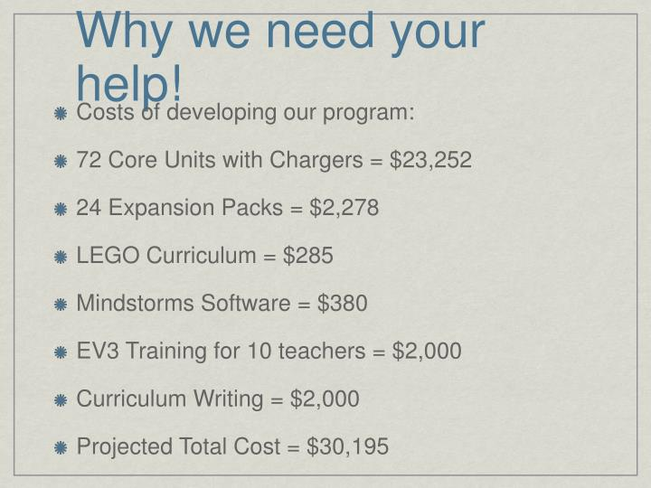 Why we need your help!