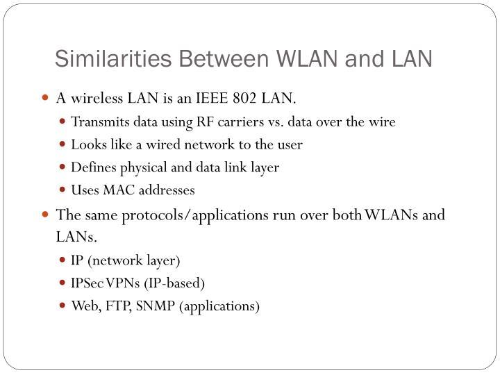 Similarities Between WLAN and LAN