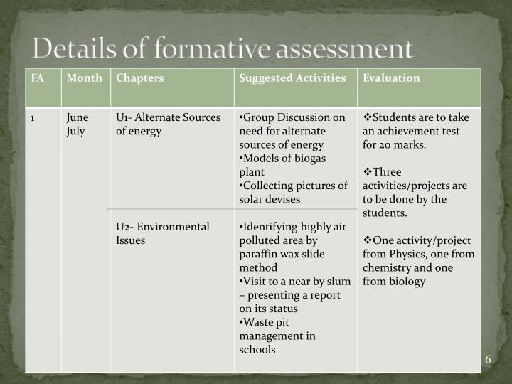 Details of formative assessment