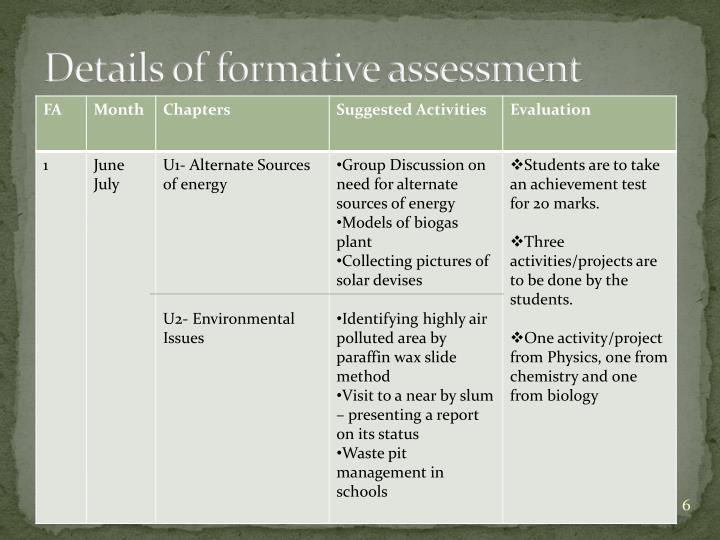 Details of formative assessment