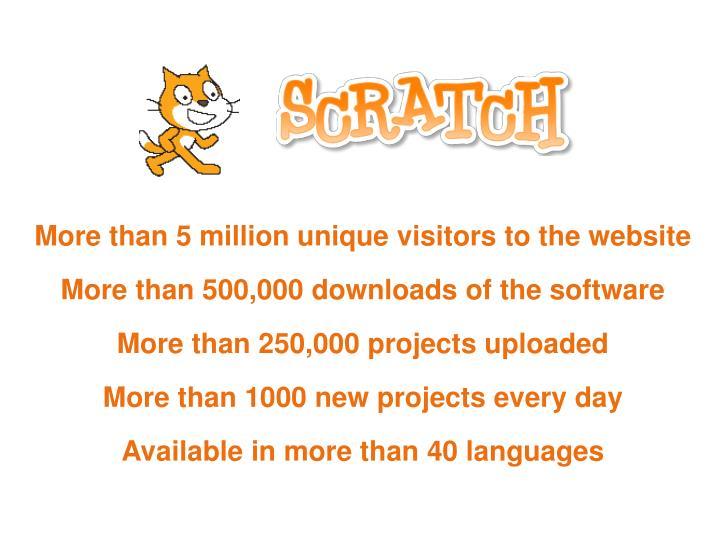 More than 5 million unique visitors to the website