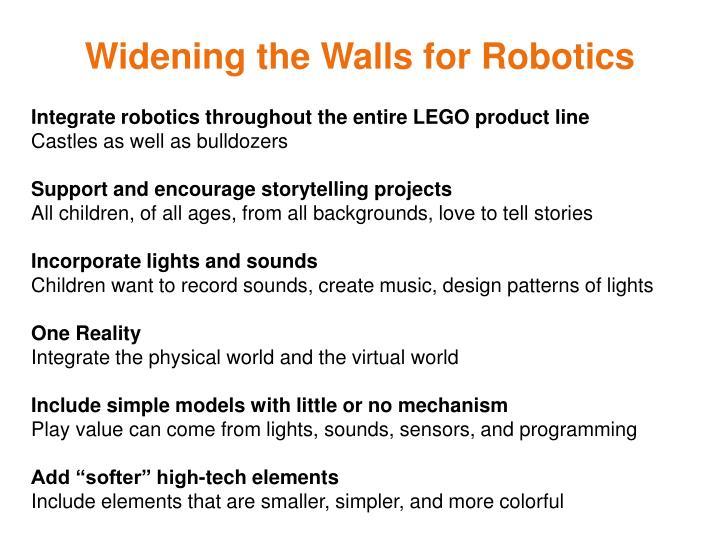 Widening the Walls for Robotics