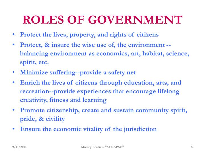 ROLES OF GOVERNMENT