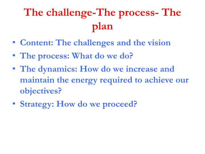 The challenge-The process- The plan