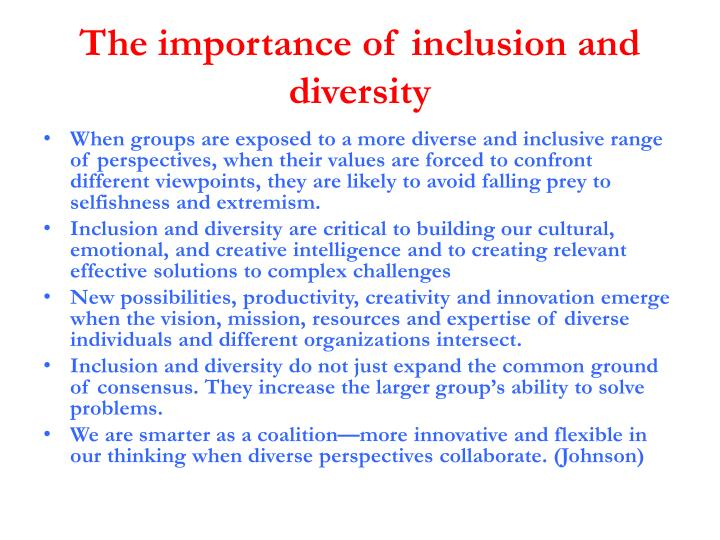 The importance of inclusion and diversity