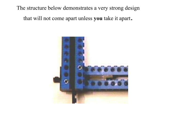 The structure below demonstrates a very strong design that will not come apart unless