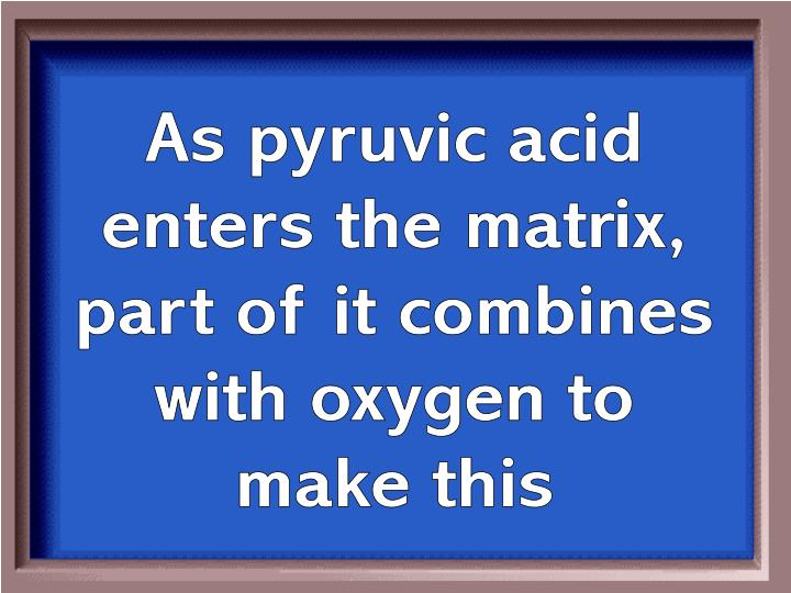 As pyruvic acid