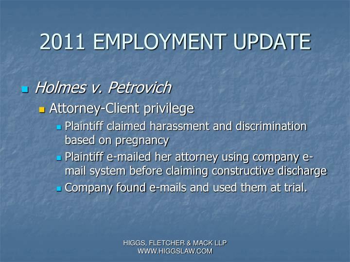 2011 EMPLOYMENT UPDATE